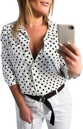 Mujer Camisa de Lunares Blusa Cuello V Camiseta Túnica Color Puro Camisa Manga 3/4: Amazon.es: Ropa y accesorios