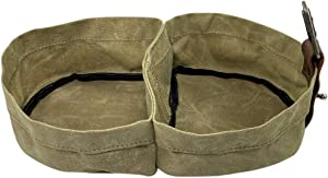 Taco Dog, Double Travel Pet Bowl Handmade from Natural Materials - Convenient Collapsible Dish for Water and Food - for Puppy, Dog or Cat, Portable Carrier, Clip on to Leash or Bag - Waxed Canvas