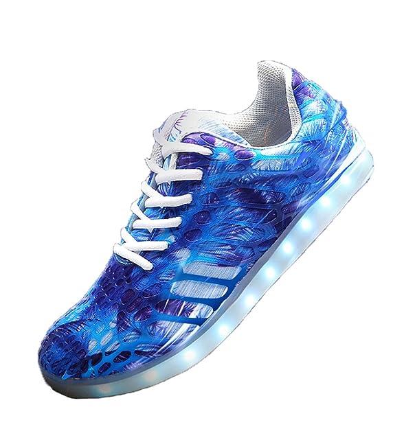 Honeystore Unisex 7 Farbe Farbwechsel USB Aufladen LED Leuchtend High-Top Sport Schuhe Hoch Sneaker Turnschuhe Blau 37 CN SopKg