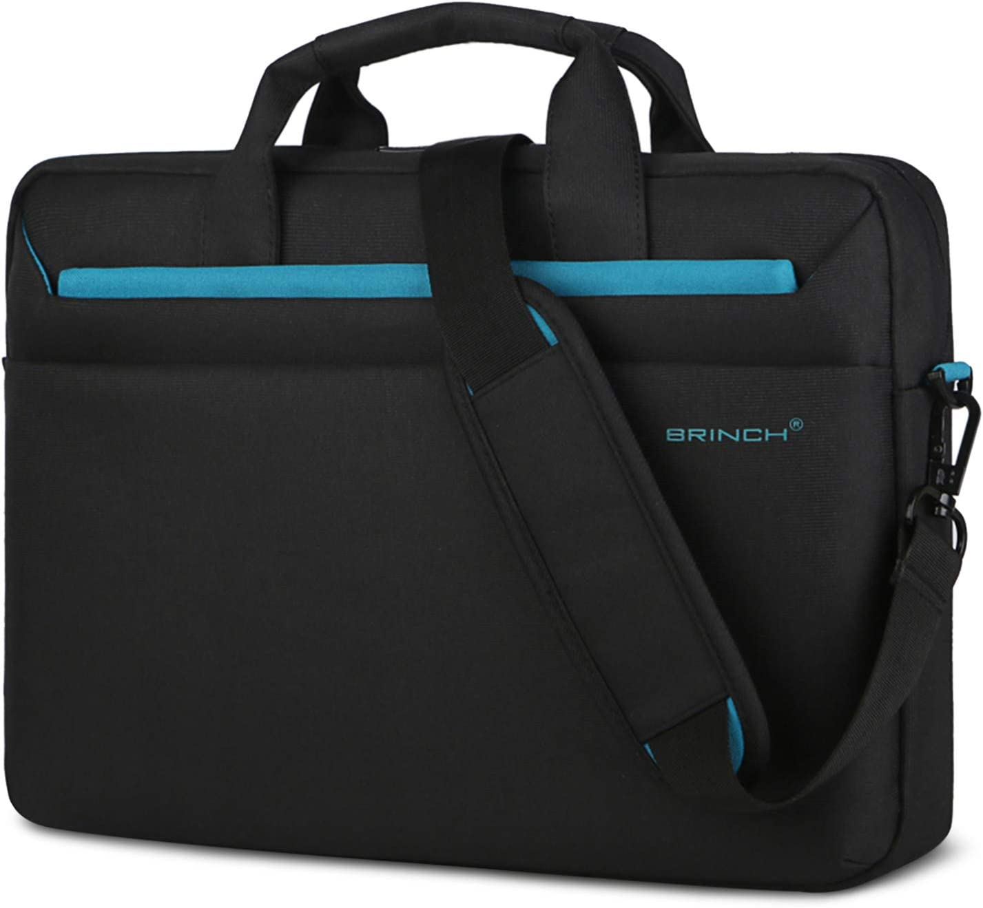 BRINCH 15.6 Inch Laptop Bag, Multi-Functional Laptop Case Bag with Handle Protective Carrying Case Business Shoulder Bag Compatible with MacBook Pro HP Dell Asus for Men Women,Black