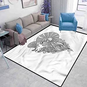 Zodiac Aries Carpets for Bedroom Living Room Mehndi Henna Ram Living Room Bedroom Baby Room Rug Carpet Spots for Kids Classroom W2 x L3 Feet