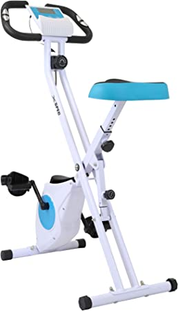 Xspec Indoor Foldable Stationary Compact Upright Cardio Workout Exercise Cycling Bike w/Heart Rate 16-Level Magnetic Resistance LCD Monitor w/Phone Tablet Book Holder