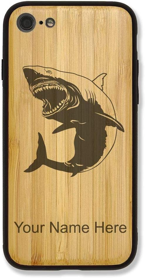 Case Compatible with iPhone 6 and iPhone 6s, Great White Shark, Personalized Engraving Included (Bamboo)