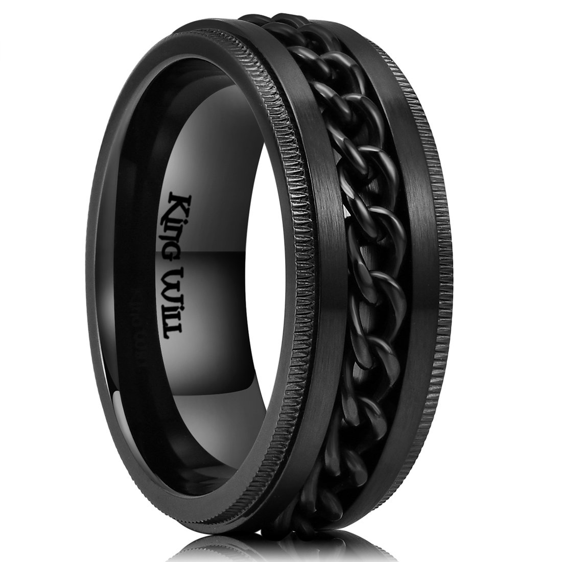 King Will 8mm Mens Black Stainless Steel Ring Center Chain Spinner Ring Wedding Band 10