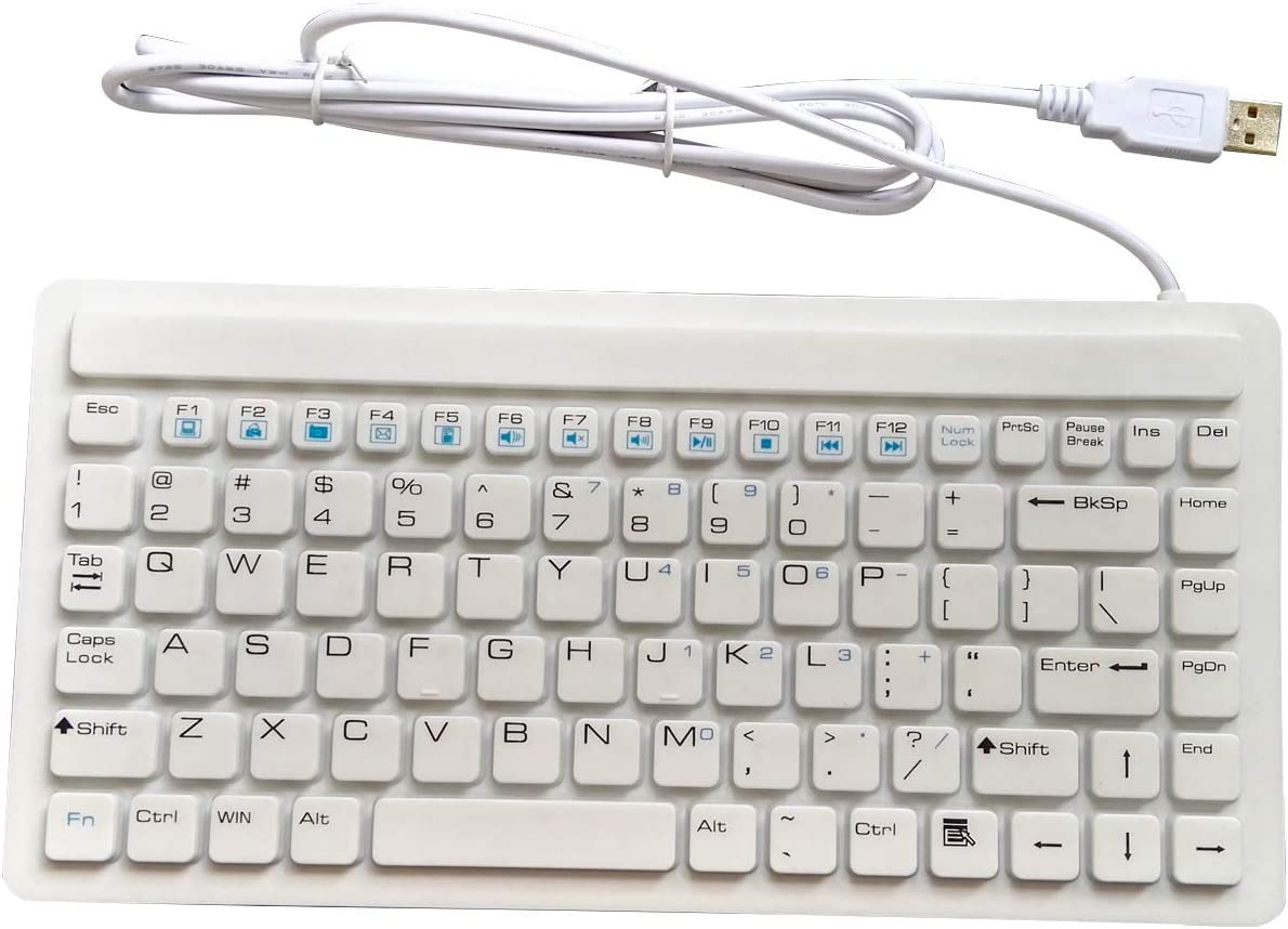 87-Key Silicone Waterproof Disinfectable Keyboard Compact USB for Hospitals Clinics Emergency Medical
