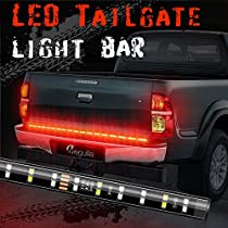 Megulla 2-Row LED Truck Tailgate Light Bar Strip Red/White Reverse Stop Turn Signal Running for Pickups, SUV, RV, Trailer and more