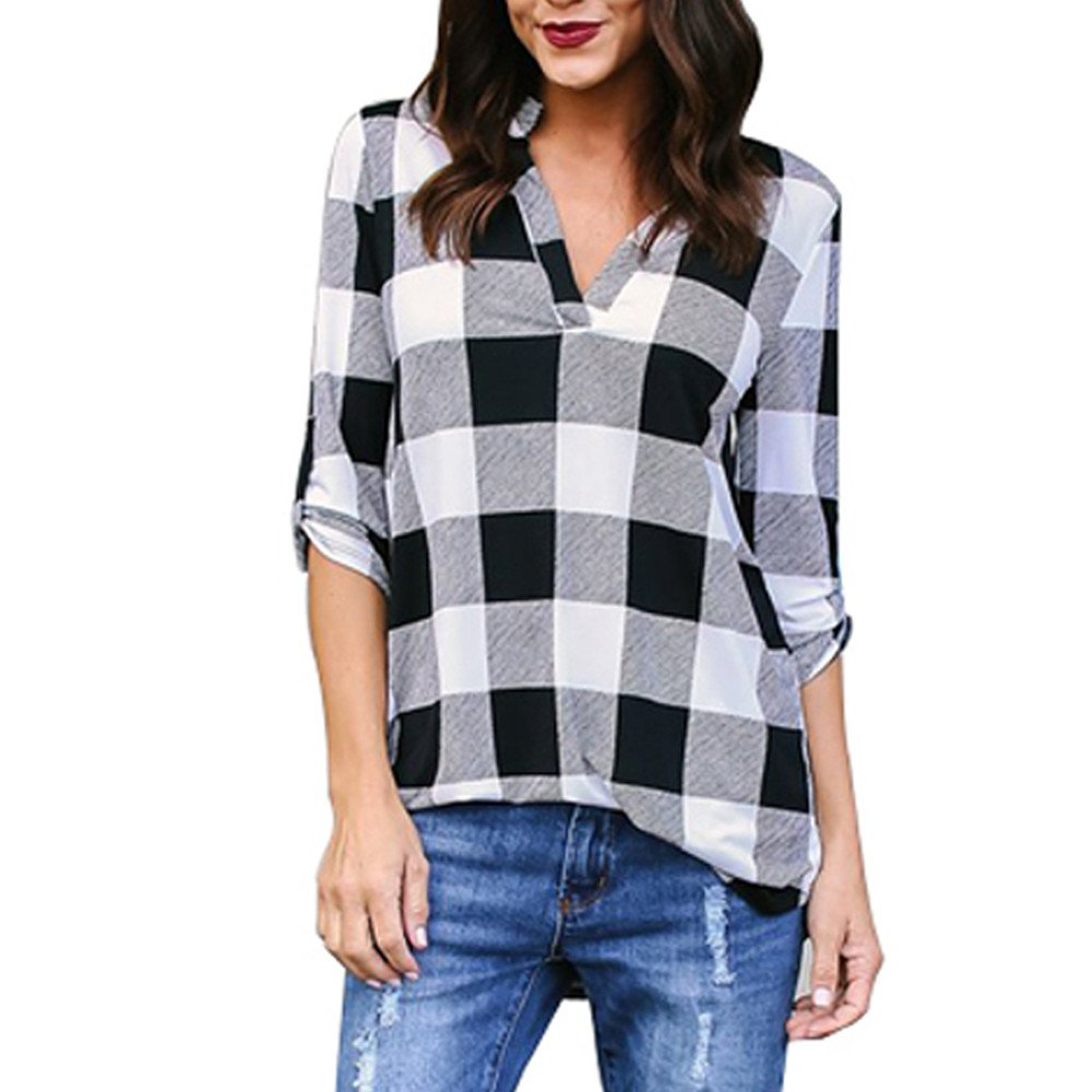 Shusuen ✥ Spring 2019 Women Roll-up 3/4 Sleeve Tops Plaid V Neck Office Work Blouse Leisure T-Shirts Black by Shusuen