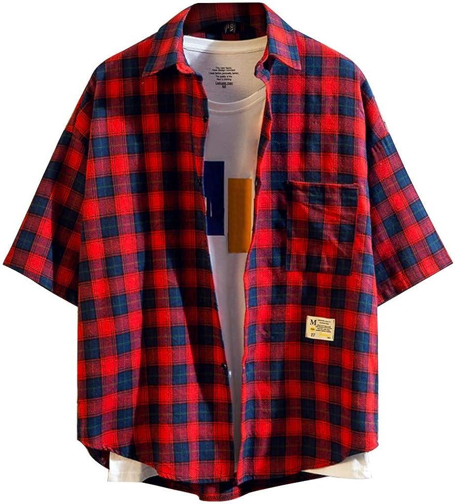 TUDUZ Camisetas Hombre Manga Corta Bolsillo Top a Cuadros Camisa Sencilla y Cómoda: Amazon.es: Ropa y accesorios