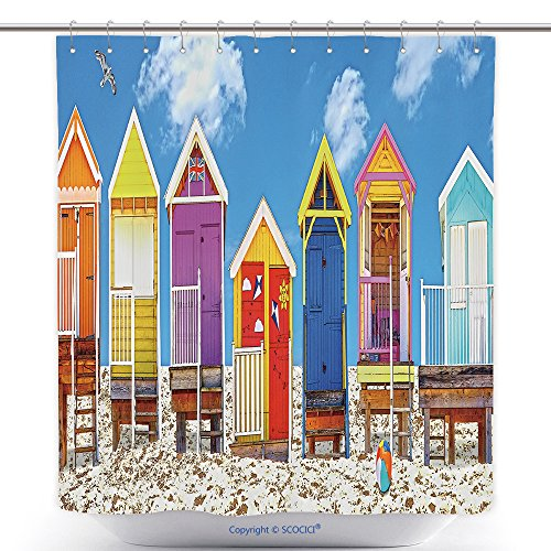 vanfan-Antibacterial Shower Curtains Beach Huts Uk Bath Decorations Bathroom Decor Sets With Hooks(48 x 78 - Huts African Pictures