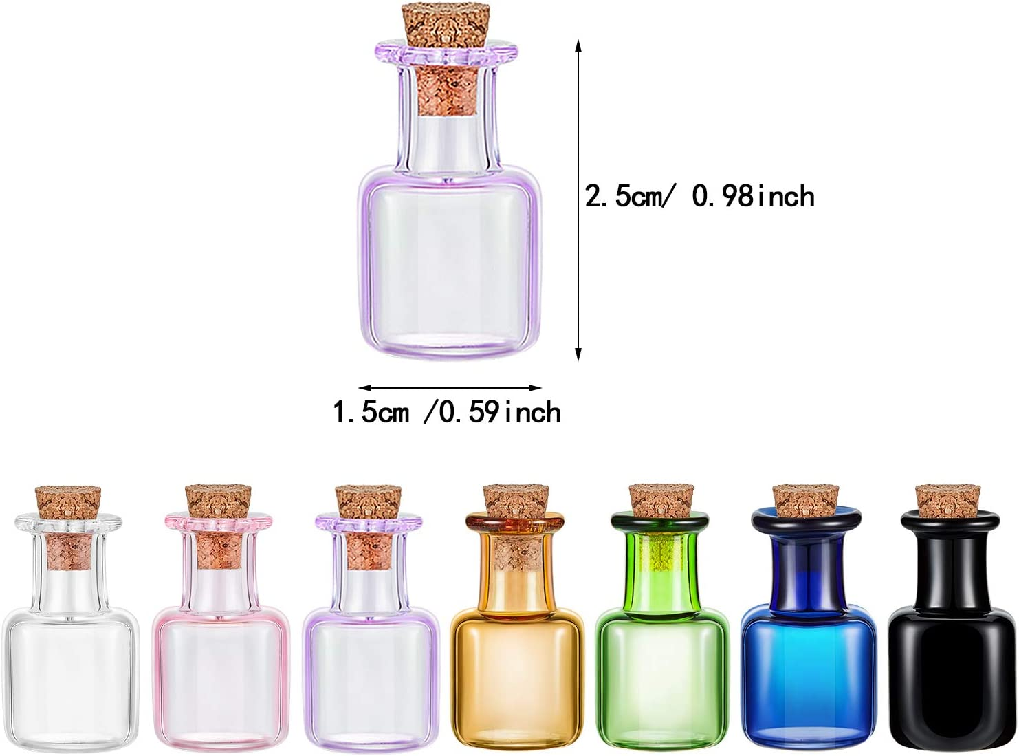 7 Mini Glass Color Bottles Wishing Bottle Tiny Jars Vials Rectangle Cute Bottles with Cork for Party Wedding DIY Decoration
