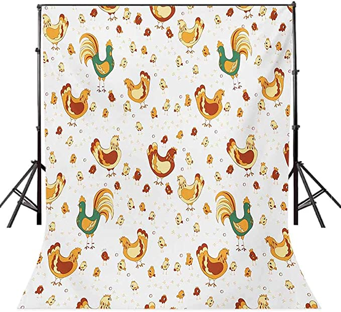 Gallus 6.5x10 FT Photo Backdrops,Rooster Hen and Chicks Dotted Background Family April Eggs Feast Field Background for Kid Baby Boy Girl Artistic Portrait Photo Shoot Studio Props Video Drape Vinyl
