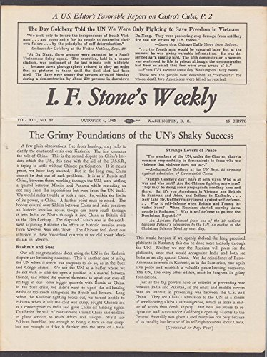 I F STONE'S WEEKLY Vol XIII #32 UN Kashmir Suez Castro Cuba Vietnam 10/4 1965 (Kashmir Stone)