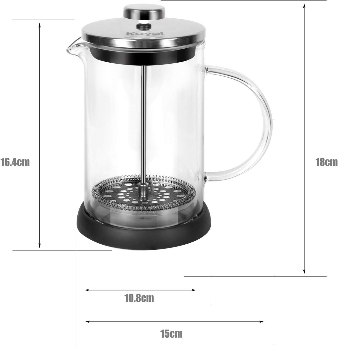 Kuyal Cafeti/ère /à piston en acier inoxydable pour caf/é du matin avec 3 filtres suppl/émentaires 5 tasses 600 ml