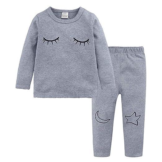 3fe1245a94f8b Kehen Newborn Baby Girls Boys Spring Outfits 2pcs Cotton Pajamas Sets  Eyelash Long Sleeve Shirt Tops