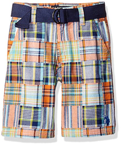 Plaid Boys Shorts (U.S. Polo Assn. Big Boys' Belted Patchwork Walking Short, Plaid, 8)