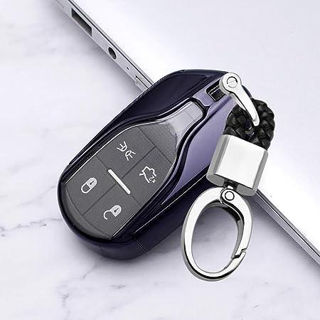 Ontto 4 Tasten Smart Autoschlüssel Hülle Abdeckung Für Maserati Levante Quattroporte Ghibli Tpu Schutzhülle Schlüsselschutz Mit Schlüsselanhänger Schutz Etui Für Fernbedienung Schwarz Auto