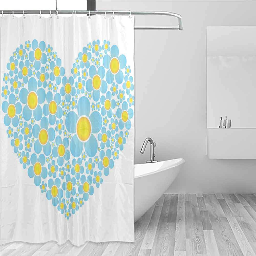 BE.SUN Large Shower Curtain,Yellow and Blue,Shower Curtain with Hooks,W94x72L Light Blue Marigold by BE.SUN