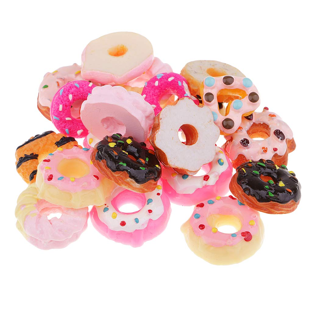 D DOLITY 20 Pieces Lots Mixed DIY Flatbacks Resin Flat Back Kawaii Doughnut Sweets Cabochon Buttons Scrapbooking Slime Charm DIY Embellishment Phone Craft