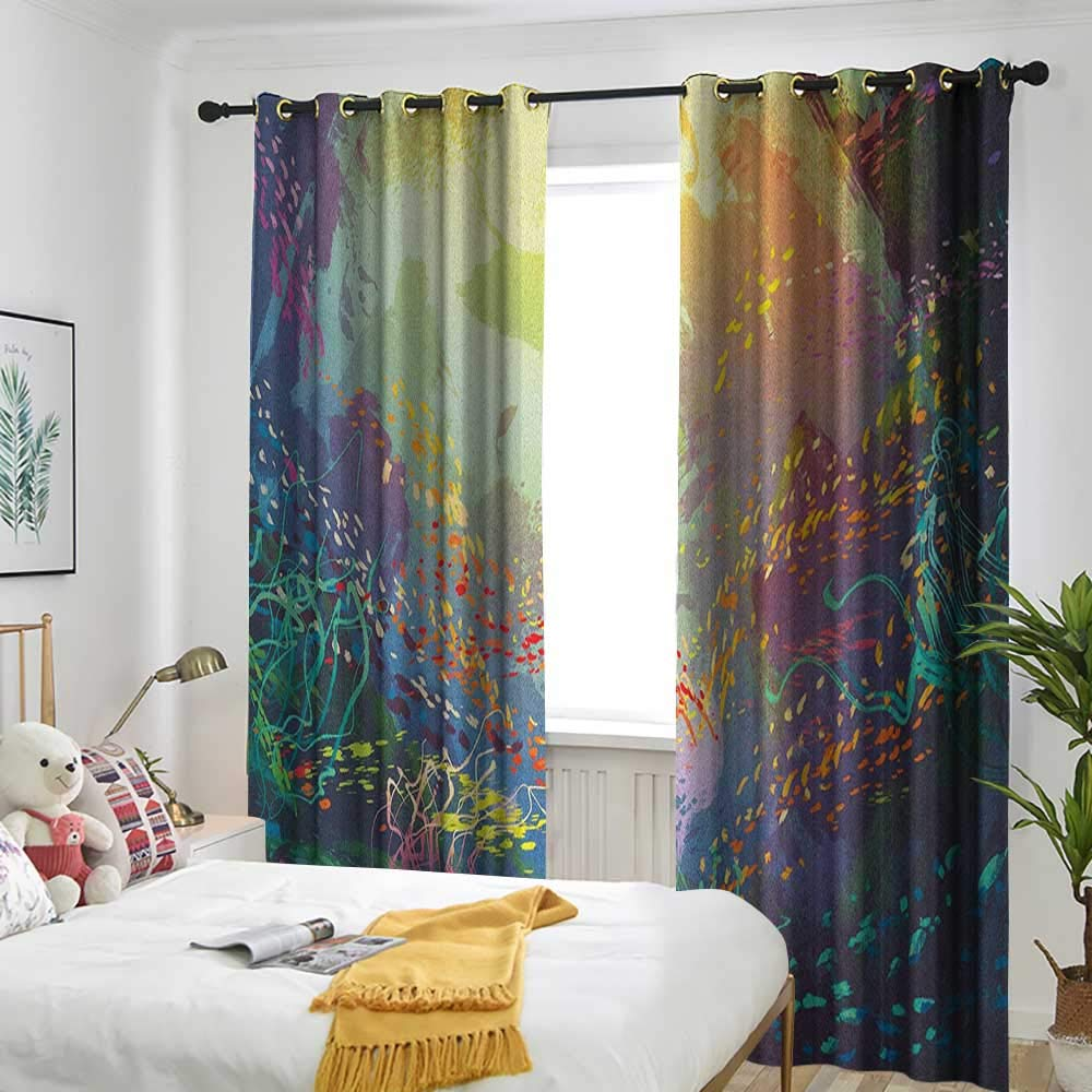 longbuyer Sea Animals Blackout Draperies for Bedroom Underwater with Coral Reef and Colorful Fish Aquarium Artistic Print W84 x L84,Suitable for Bedroom Living Room Study, etc. by longbuyer (Image #2)