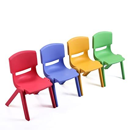 Tobbi Kid Plastic Stacking School Chair Set Of 4 Multicolored Seat For  Playroom Daycare