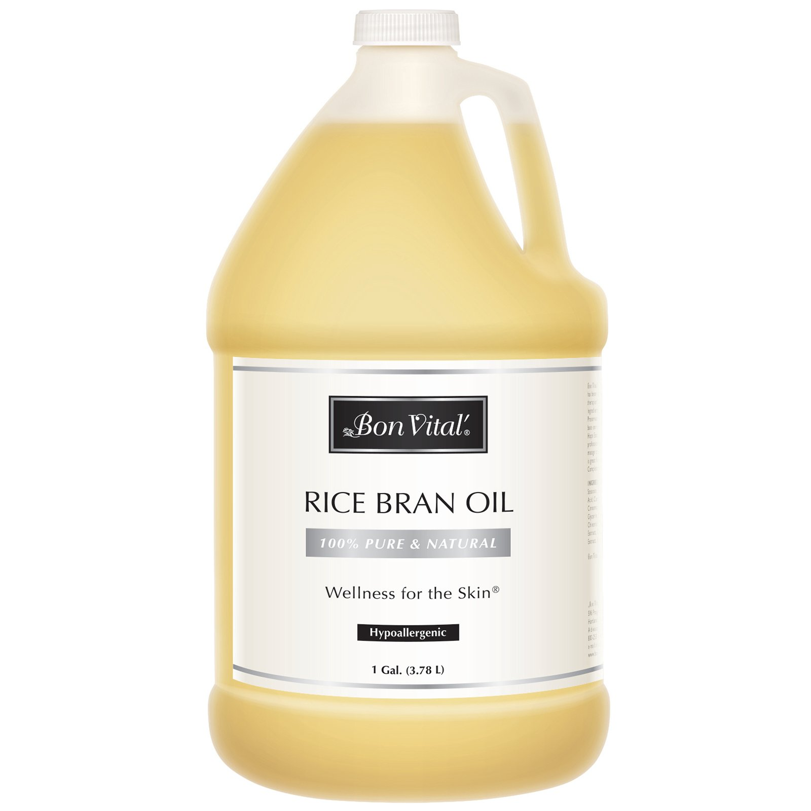 Bon Vital' Rice Bran Oil, 100% Pure and Cold Pressed Carrier Oils for Diffusers, Professional Massage Oil, Best Beauty Secret for Soft & Smooth Skin, Moisturizer & Sore Muscle Relief, 1 Gallon Bottle by Bon Vital