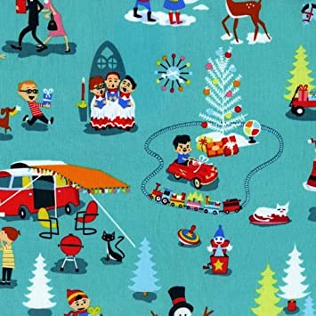 CHRISTMAS FABRIC BY HALF METRE Retro Blue 1950's Vintage Christmas ...