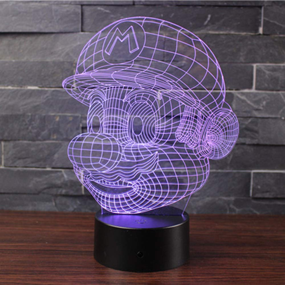 Doremy 3D Illusion LED Night Light Table Desk Lamp 7 Colors Gradual Changing Touch with USB Cable for Home Decoration or Children's Gifts (Mario)