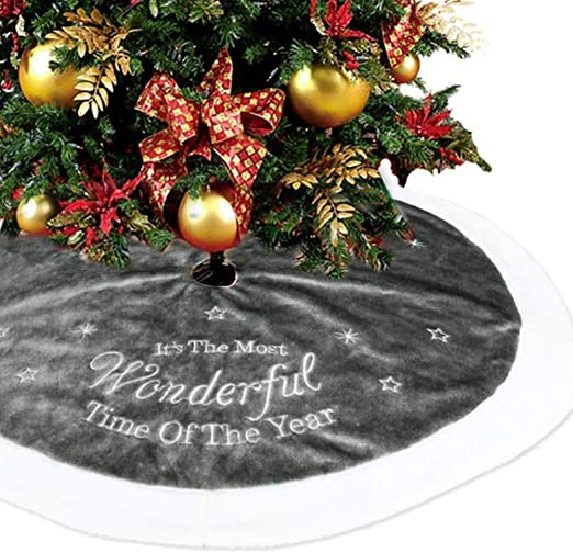 BESTOYARD Christmas Tree Skirts Grey Tree Skirt Mat for Holiday Christmas Xmas Decorations 90cm