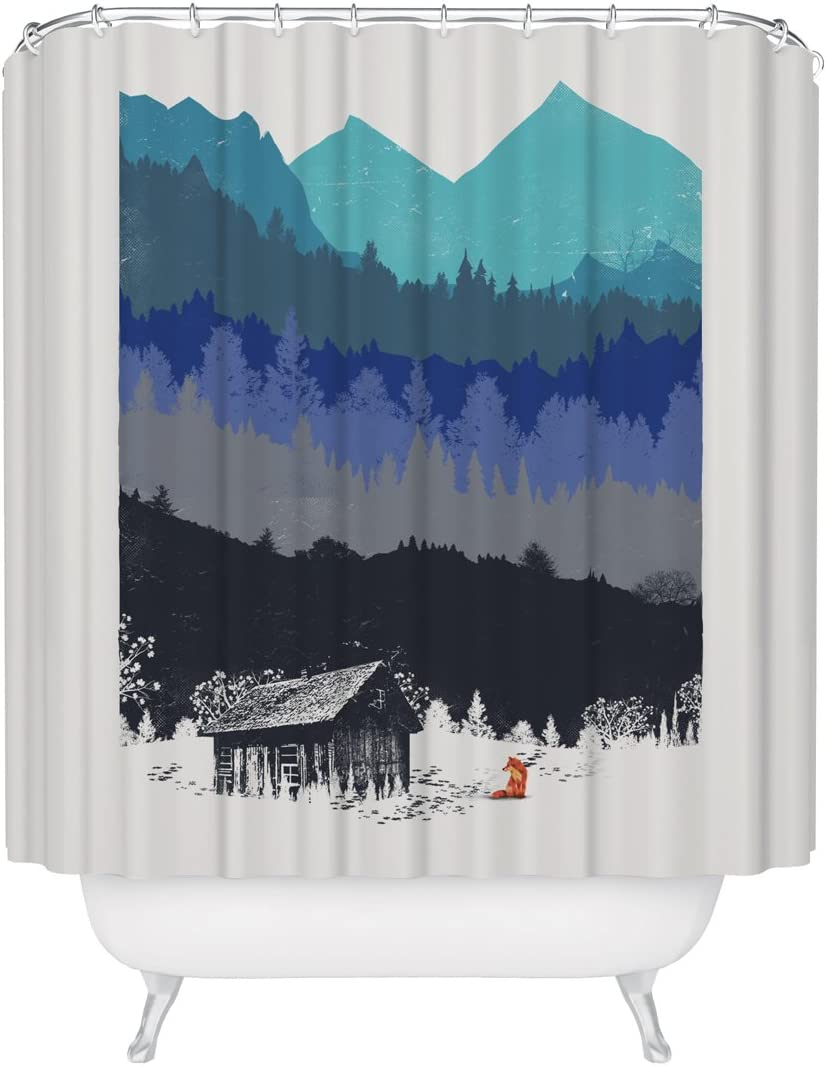Wilderness Nature Lover Shower Curtain Mountain Forest Outdoor Landscape Inspiration Woodland Red Fox Rustic Cabin House Mildew Resistant Fabric Bathroom Decor