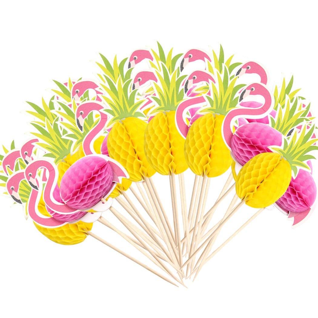 Faylapa 100 Pcs 3D Cake ToppersDIY Birthday Snack Cupcake Decorations50 Flamingo 50 Pineapple Topper Food Picks Wedding Luau