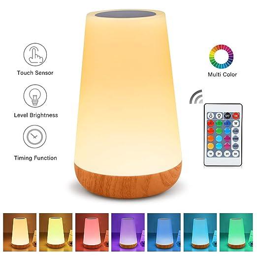 Amazon.com: Lámpara de mesa con sensor táctil y luz nocturna ...
