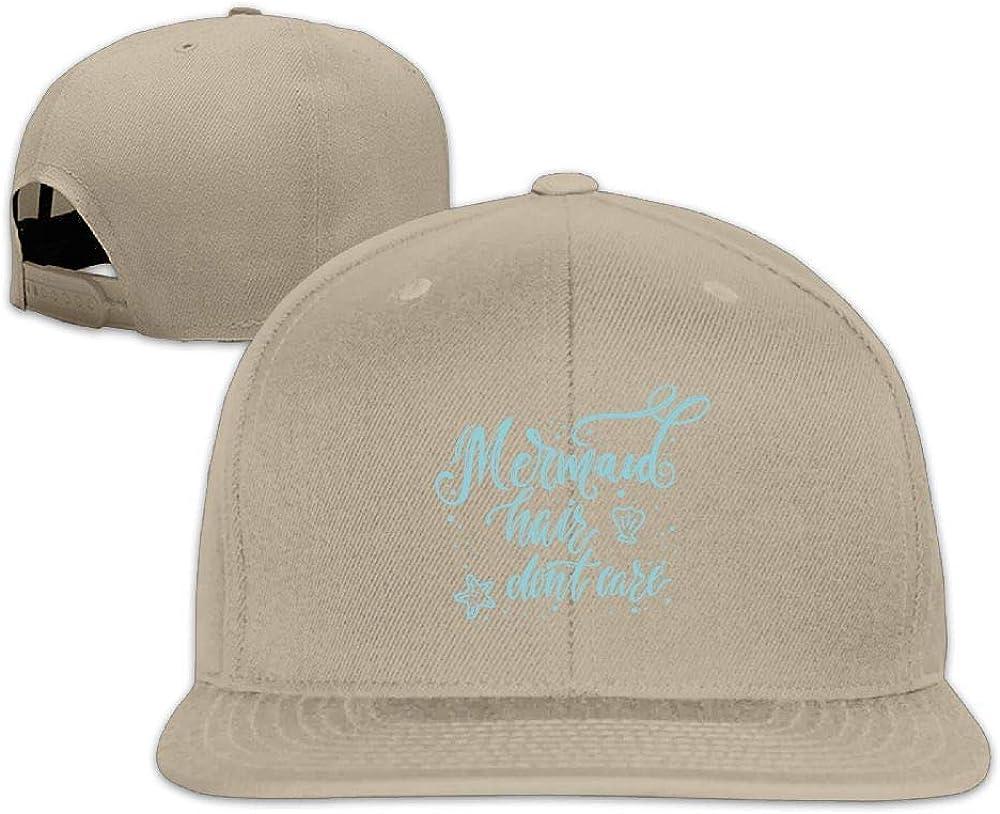 Mermaid Hair Don't Care Washed Unisex Adjustable Flat Bill Visor Dad Hat