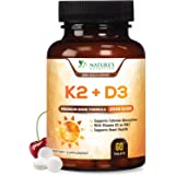 Vitamin K2 (Mk7) with D3 Supplement - High Potency Vitamin D Complex, Chewable for Better Absorption, Made in USA, Support fo