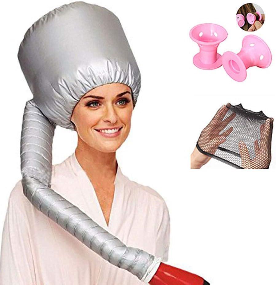 Capó capó secador de pelo ajustable con capucha secador portátil de salón de calor tapa de silicona rosa rizadores de pelo para peinar el rizado y acondicionamiento profundo para relajarse en casa