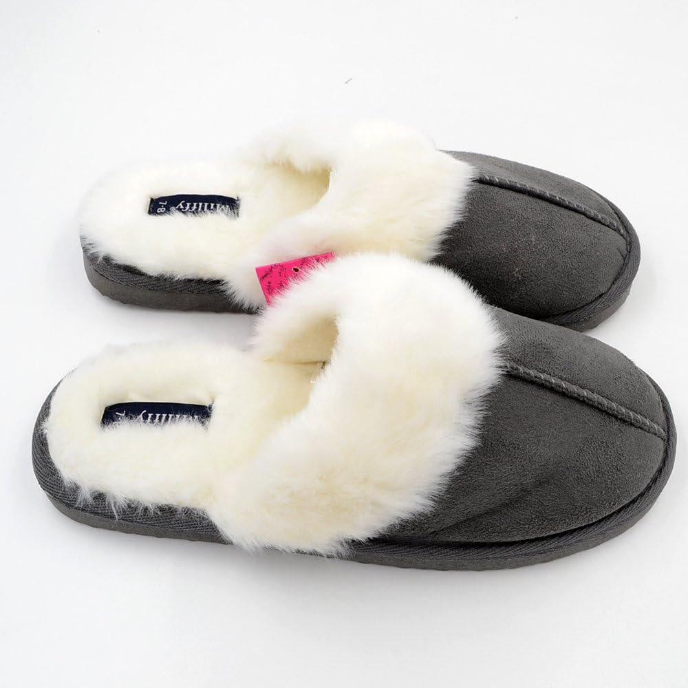 Millffy Nordic Faux Trim Chaussons de Fourrure de Lapin Chaussures pour Femmes Fausse Fourrure Pantoufles Mousse de m/émoire Pantoufles eva Pantoufle