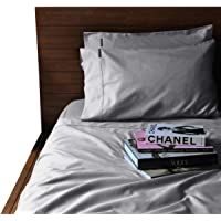 Canningvale Palazzo Royale Queen 1000TC Premium Cotton Blend Sheet Set Silver Silk Bedroom Cover
