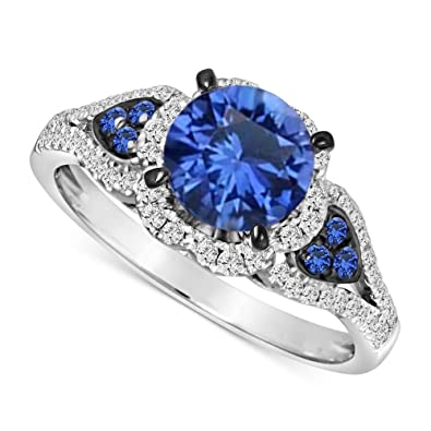 SVC-JEWELS 14K Rose Gold Over 925 Sterling Silver Round Cut Blue Sapphire Criss Cross X Wedding Band Ring Men