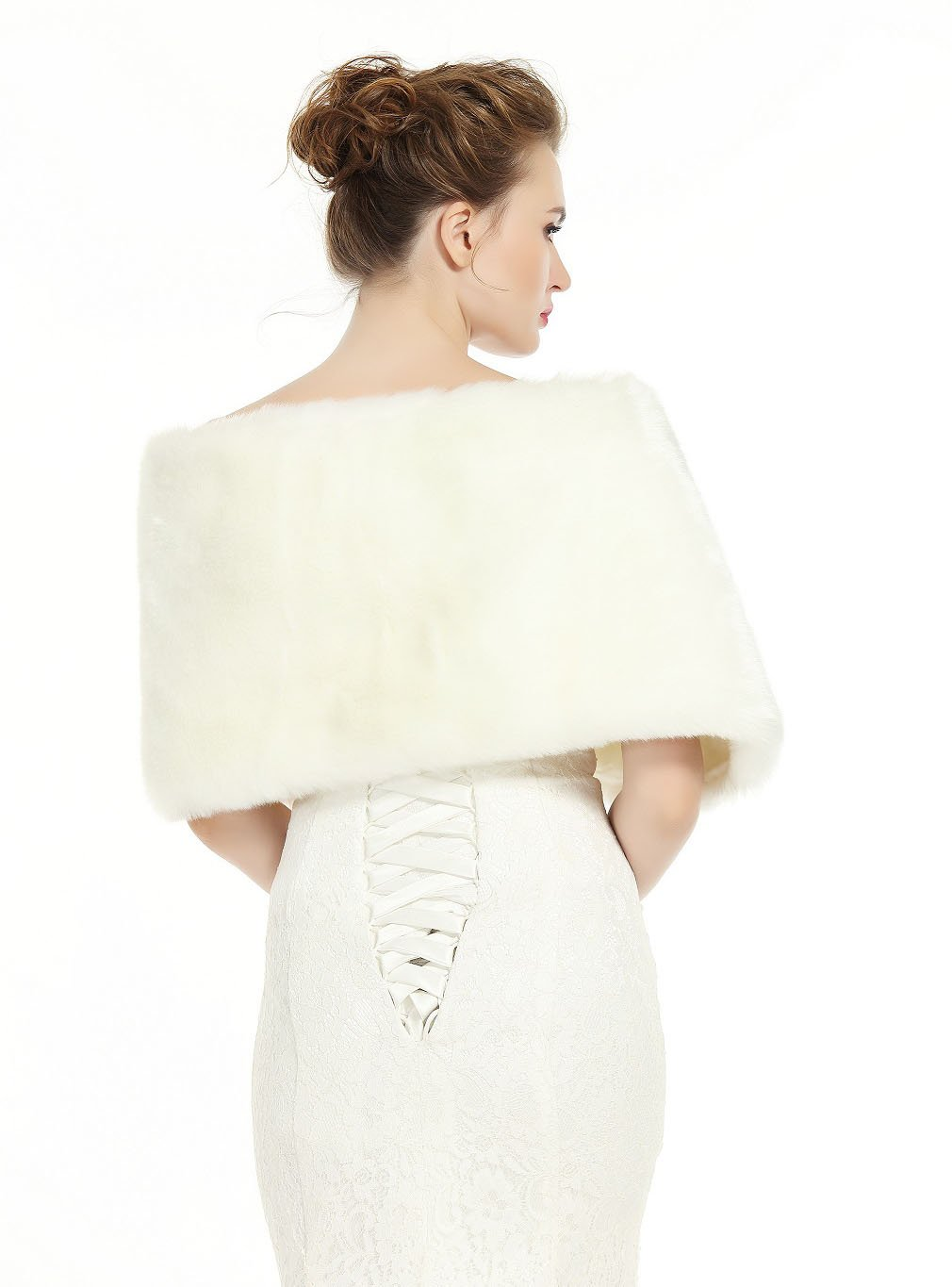 Faux Fur Wrap Shawl Women's Shrug Bridal Stole for Winter Wedding Party Free Brooch Ivory by BEAUTELICATE (Image #5)