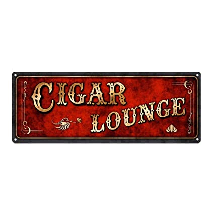 mdrqzdfh Home Lounge Decor Red Cigar Lounge Metal Sign 6x12 ...