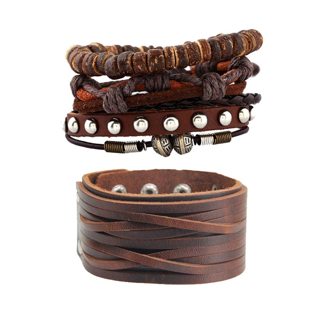 MonkeyJack 2pcs Retro Bohemian Multilayer Braided Leather Wrap Bracelet Cuffs Boho Jewelry