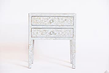 Luxury Handicrafts Mother Of Pearl 2 Drawer Bedside Table Long Leg