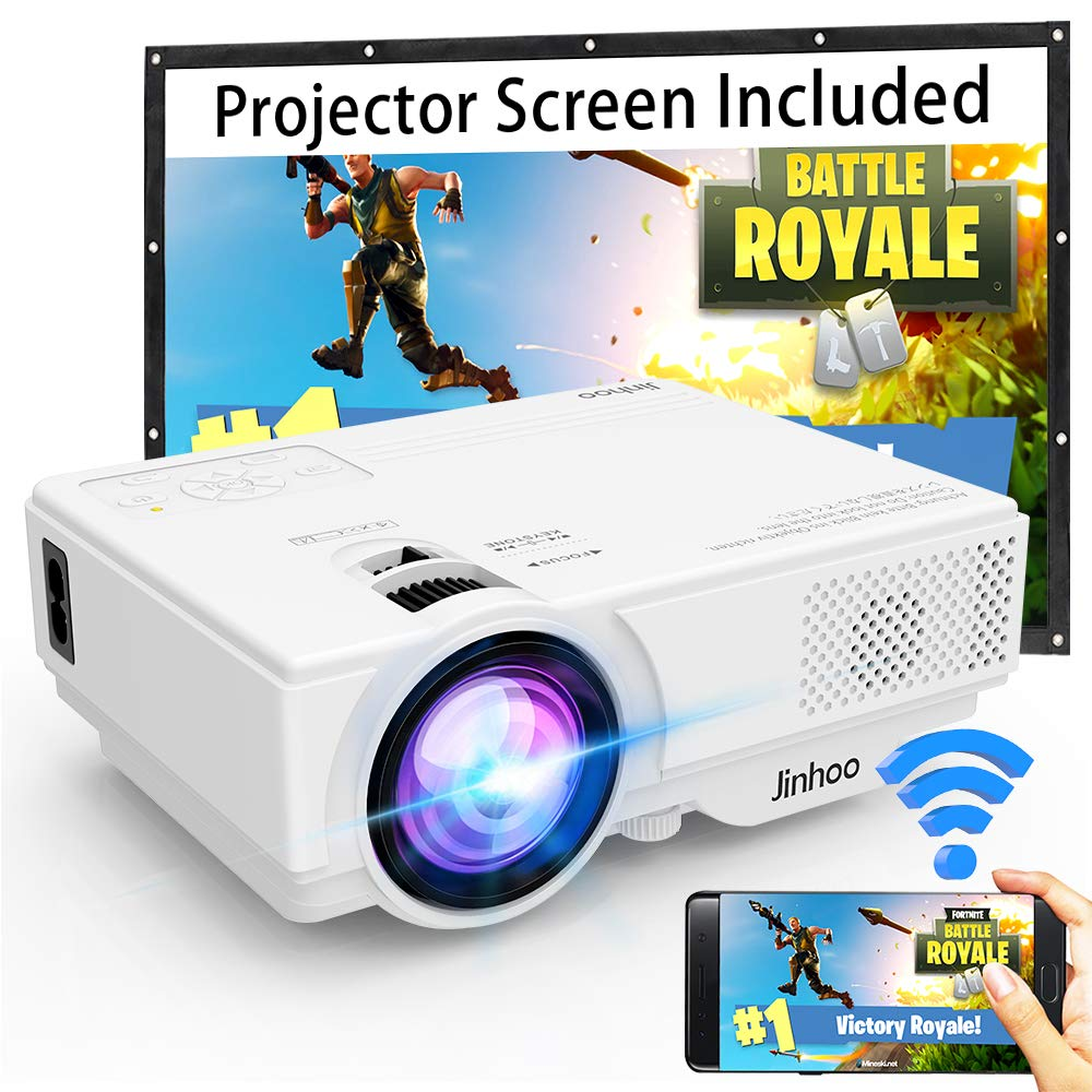 WiFi Mini Projector, Jinhoo 2019 Latest Update 3500 Lux [100'' Projector Screen Included] HD Home Theater Systems Supported 1080P with 176'' Projector Size Compatible with TV Stick, HDMI, USB, SD, VGA by Jinhoo