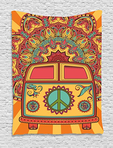 1970s Mini (70s Party Decorations Tapestry by Ambesonne, Hippie Vintage Mini Van Ornamental Backdrop Peace Sign, Wall Hanging for Bedroom Living Room Dorm, 40 W X 60 L Inches, Coral Orange Turquoise)