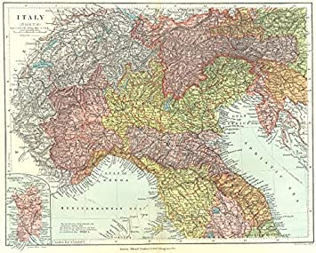 Map Of Italy Showing Provinces.Amazon Com Northern Italy Showing Provinces And Compartmenti