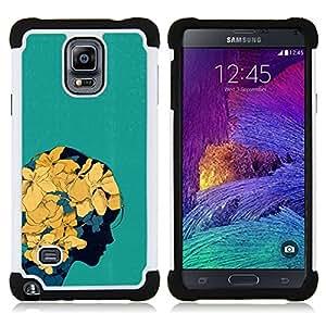 """Samsung Galaxy Note 4 IV / SM-N910 - 3 en 1 impreso colorido de Altas Prestaciones PC Funda chaqueta Negro cubierta gel silicona suave (Floral de la primavera flores amarillas Chica del arte"""")"""
