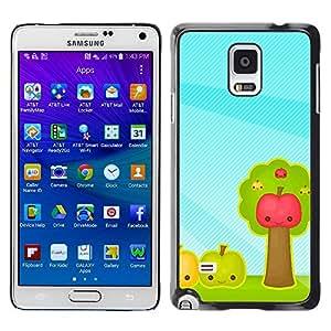 Caucho caso de Shell duro de la cubierta de accesorios de protección BY RAYDREAMMM - Samsung Galaxy Note 4 - Fruit Apples