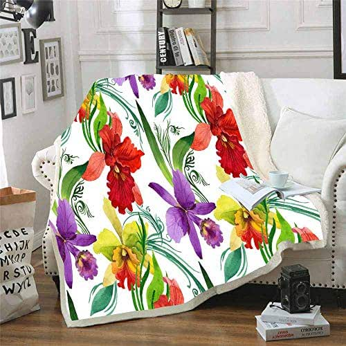 Shorping Plush Throw Blanket, Car Blanket for Adults Sofa Throw Blanket Wildflower Orchid Flower Pattern in for Your Family Soft and Comfortable Christmas Holiday Cute Throw Blanket 50X60 Inchs