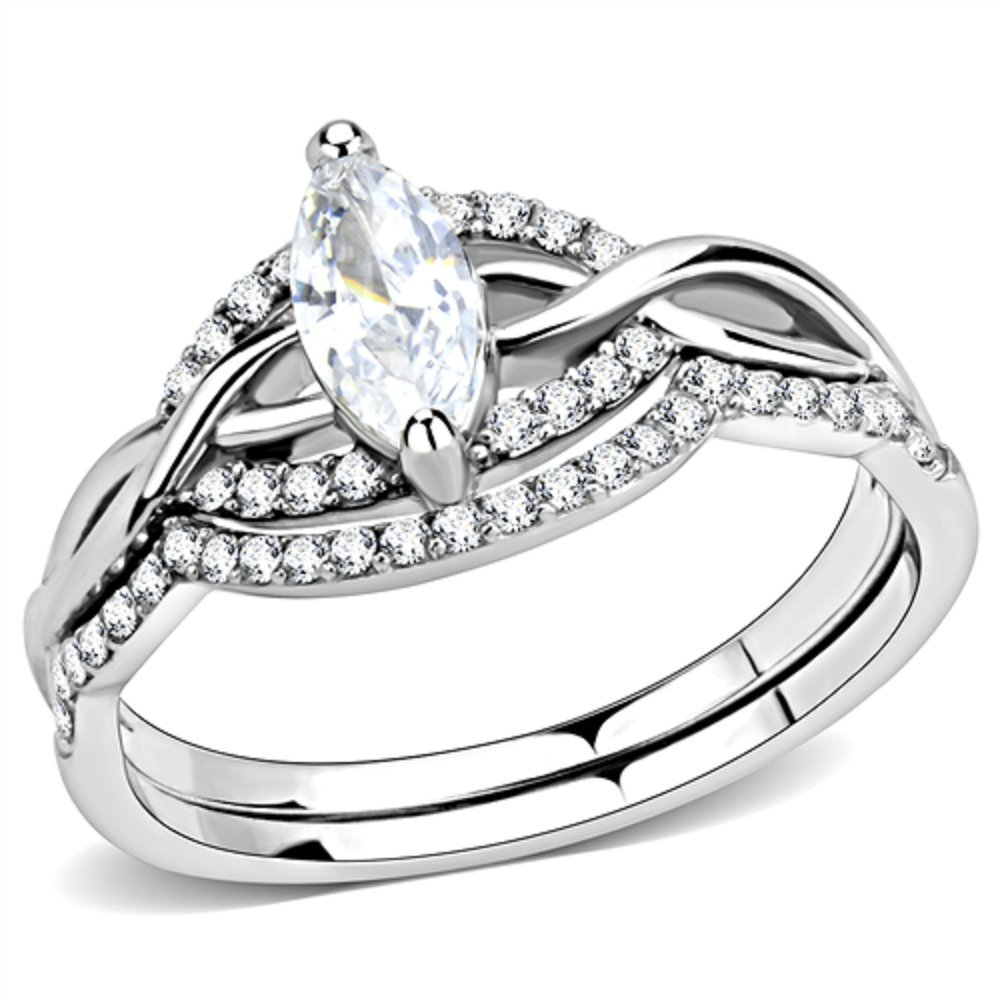 Vip Jewelry Co Women's Marquise Cut CZ Stainless Steel Engagement & Wedding Ring Set Size 5-10 (5)
