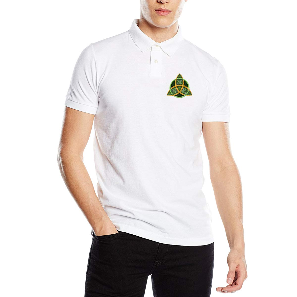 Cool Celtic Trinity Knot Men Regular Fit Cotton Polo Shirts Classic Short Sleeve Polo White
