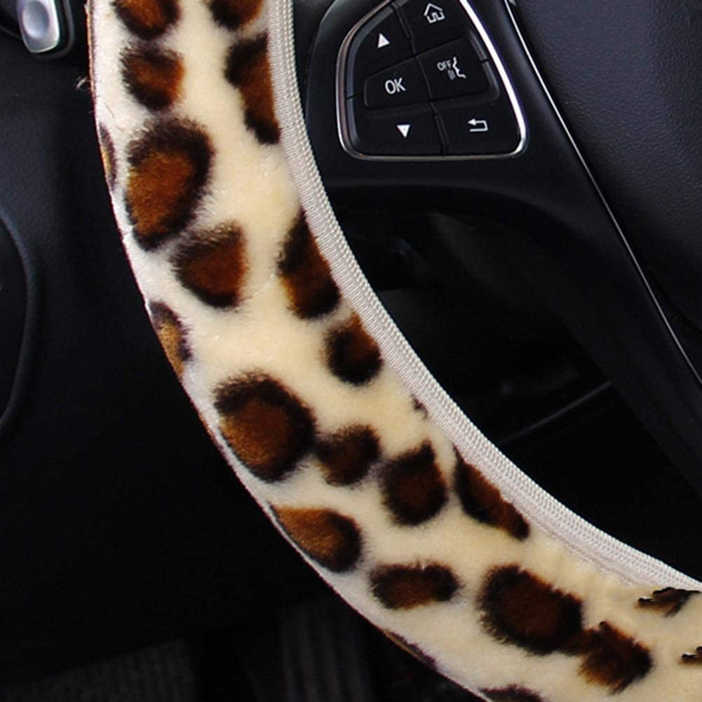 Auto Leopard Leder Lenkradbezug Universal 15 Zoll rutschfeste Slip Velvet Lenkradbezug f/ür weibliche M/ädchen